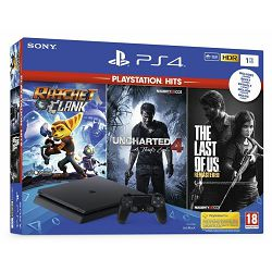 PlayStation 4 1TB F chassis + Ratchet and Clank + The Last of Us + Uncharted 4 Hits