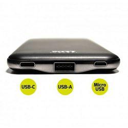 Port slim powerbank 10000 mAh,USB-C, USB-A, crn 900116