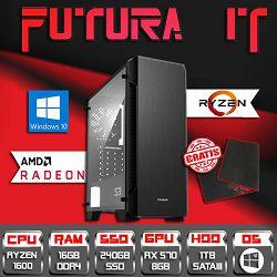 Računalo FuturaIT BestBuy (Ryzen 5 1600, B350, 16GB DDR4, 240GB SSD, 1TB HDD, RX 570 8GB, Win 10) + Poklon gaming podloga