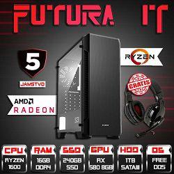 Računalo FuturaIT BestBuy (Ryzen5 1600, B350, 16GB DDR4, 240GB SSD, 1TB HDD, RX 580 8GB, 5 godina) + Poklon slušalice