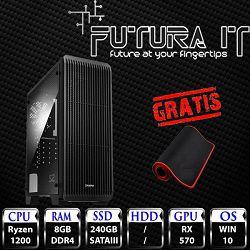 Računalo FuturaIT BudgetRXGamer (Ryzen 3 1200, 8GB DDR4, 240GB SSD, RX 570 8GB, Win10) - Poklon gaming podloga
