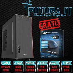 Računalo FuturaIT GTXGamer V01 (Ryzen 1200, 8GB DDR4, 120GB SSD, 1TB HDD, GTX1050Ti 4GB, DVI/HDMI, noOS) + Poklon Roccat Lua i podloga