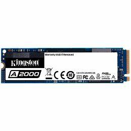 KINGSTON A2000 250GB SSD, M.2 2280, NVMe, Read/Write: 2000 / 1100 MB/s, Random Read/Write IOPS 150K/180K