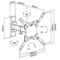 "SBOX okretni zidni stalak 13""-43"",33-109cm,do 20kg LCD-221"