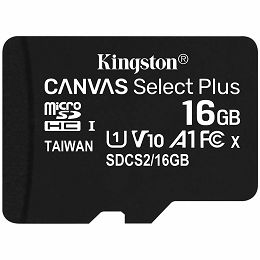 Kingston 16GB micSDHC Canvas Select Plus 100R A1 C10 Single Pack w/o ADP EAN: 740617298635