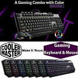 Tipkovnica Cooler Master Devastator 3 + miš gaming, LED osvjetljenje u 7 boja, US/HR Layout