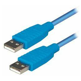 Transmedia USB 2.0 type A plug to USB type A plug, Blue, 1,2 m
