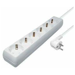 Transmedia 6-way power strip, 5,0 m cable, White