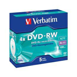 DVD-RW Verbatim 4.7GB 4× Matt Silver 5 pack JC