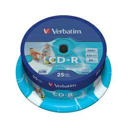 CD-R Verbatim 700MB 52× DataLife Wide InkJet PRINTABLE 25 pack spindle