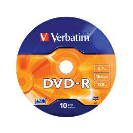 DVD-R Verbatim 4.7GB 16× Matt Silver Wagon Wheel 10 pack
