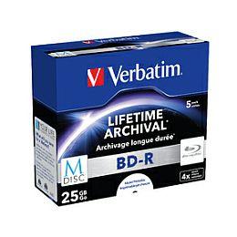 DVD Blu-Ray M-Disc Verbatim BD-R SL 25GB 4× Printable 5 pack JC (Single Layer)