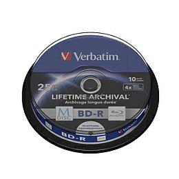 DVD Blu-Ray M-Disc Verbatim BD-R SL 25GB 4× Printable 10 pack spindle (Single Layer)