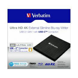 Verbatim Blu-Ray Slimline Ultra HD 4K vanjski snimač, M-Disc kompatibilan, USB3.1, crni
