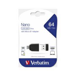 Verbatim USB2.0 Nano StorenGo 64GB + OTG microUSB adapter, crni