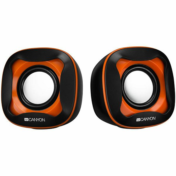 USB 2.0 Speaker, black +orange 021C, 2*3W 4 Ohm, ABS, 1.2m cable with USB2.0 & 3.5mm audio connector, CNS-CSP202BO