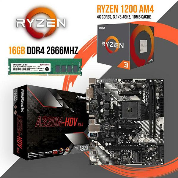 FIT Upgrade KIT (Ryzen 3 1200 + A320M + 16GB DDR4), R3-16GB-A320