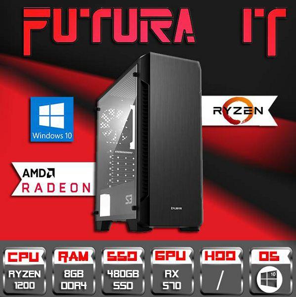 FuturaIT Cheapy (Ryzen 3 1200, 8GB DDR4, 480GB SSD, RX 570 4GB, 500W) Win10, CheapyR3570-48533