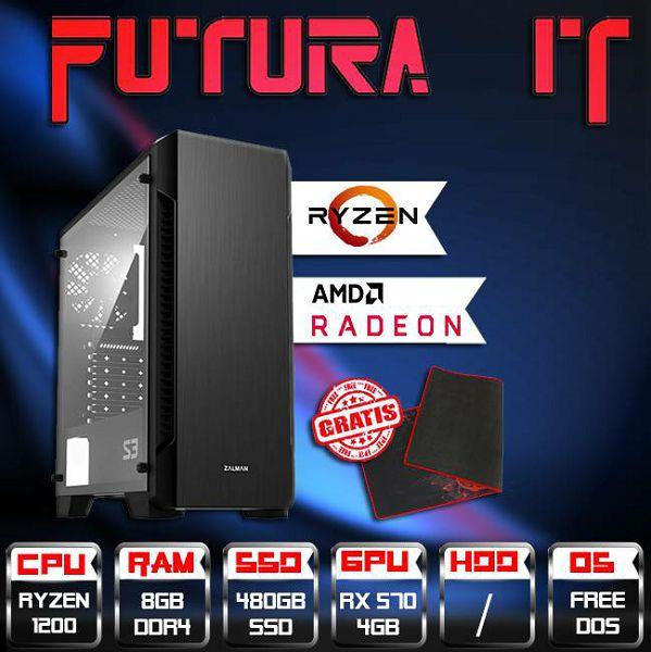 FuturaIT Cheapy (Ryzen 3 1200, 8GB DDR4, 480GB SSD, RX 570 4GB, 500W), CheapyR3570