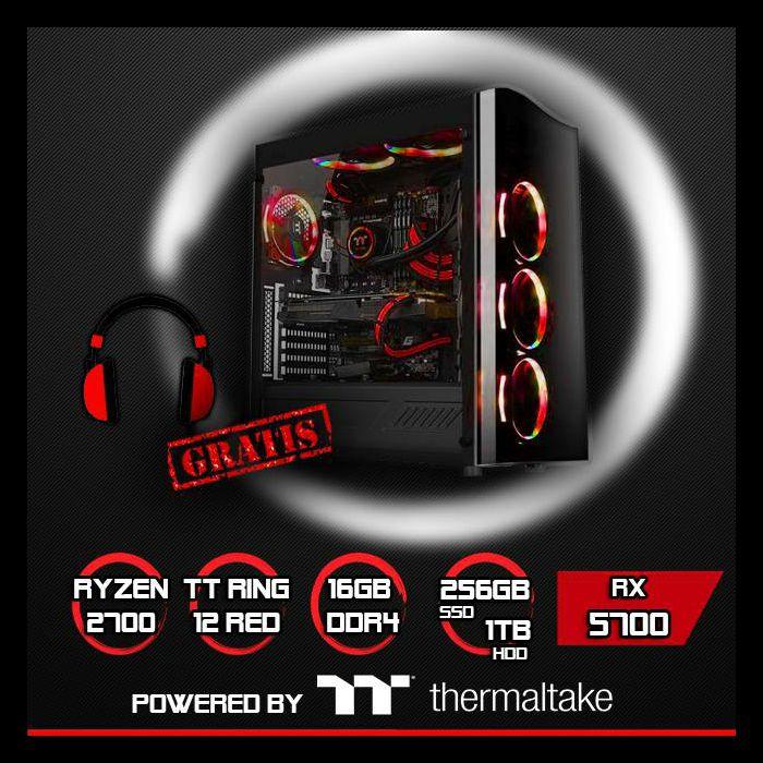 FuturaIT računalo TTPower PRO Red ED. (Ryzen 7 2700, 16GB DDR4, 256GB NVMe, 1TB HDD, RX 5700 8GB) + Poklon gaming slušalice, TTPowerR5