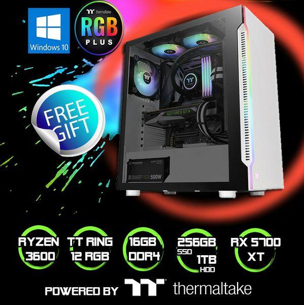 FuturaIT računalo TTPower SnowED. (Ryzen 5 3600, TT Riing, 16GB DDR4 3600MHz, 256GB NVMe, 1TB HDD, RX 5700 XT 8GB, RGB, Win10) + Tipkovnica, miš, podloga, TTPowerR1